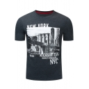 Mens Summer Popular Letter NEW YORK NYC Cotton Fitted Dark Grey T-Shirt
