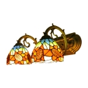Multi Color Sunflower Lighting Fixture Tiffany Style Stained Glass Double Heads Sconce Lighting