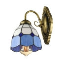 Tiffany Style Dome Shade Wall Sconce Stained Glass Single Light Wall Lamp in Blue