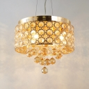 Clear Gold Crystal Round Canopy Chandelier 4 Lights Contemporary Pendant Lights with Adjustable Cord