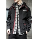 Fashion Simple Letter BLASTING Flap Pocket Stylish Zip Up Windbreaker Hooded Coat Jacket for Men