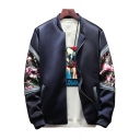 Fashion Floral Patched Long Sleeve Stand-Collar Zip Closure Navy Baseball Jacket for Guys