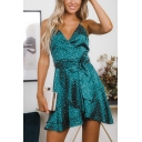 Summer Fashion Polka Dot Printed V-Neck Tied Waist Dark Green Mini Slip A-Line Dress
