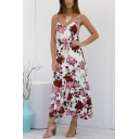 Womens Fashion Straps Floral Printed Tied Waist White Maxi A-Line Cami Dress