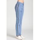 Women's New Fashion Side Stripe Slim Fit Sky Blue Denim Jeans