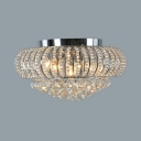 Bedroom Lantern Shape Ceiling Lighting Clear Crystal Antique Style Flush Mount Light, 8