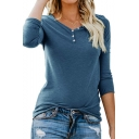 Womens Popular V-Neck Buttons Patched Long Sleeve Simple Plain Casual T-Shirt