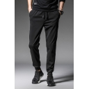 Mens Basic Simple Plain Drawstring Waist Sport Casual Black Pants
