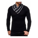 Mens Stylish Button Striped V-Neck Rhombus Slim Fit Knit Sweater
