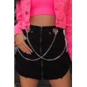 Fashion Zip Up Street Style Chain Embellished Black Mini A-Line Skirt