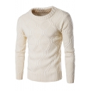 Guys Trendy Lattice Printed Round Neck Long Sleeve Pullover Sweater