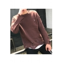 Mens Unique Awesome Torn Ripped Detail Solid Color Loose Fit Jumper Sweater