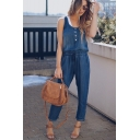 Fashion Simple Plain Sleeveless Buttons Front Drawstring Waist Denim Jumpsuit