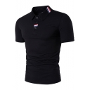Classic Fashion Red Blue and White Striped Tape Embellished Short Sleeve Summer Polo Shirt for Men