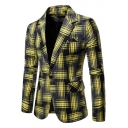 New Stylish Checkered Print Single Button Notch Lapel Long Sleeve Suit Jacket for Men
