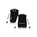 Simple Letter Funny Puppet Figure Print Rib Collar Button Down Color Block Varsity Jacket Baseball Jacket