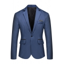 Men's Basic Solid Notched Lapel Single Button Long Sleeves Flap-Pockets Business Suit Jacket