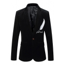 New Stylish Feather Letter Embroidered Single Button Long Sleeve Slim Fit Blazer Suit for Men