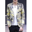 Cool Splash-Ink Graffiti Print Long Sleeve Notched Lapel Collar Single Button Mens Blazer Jacket