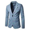 New Trendy Spray Paint Print Long Sleeve Single Button Notch Lapel Mens Blazer Jacket