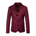 Fashionable Floral Embroidered Peaked Lapel Single Button Long Sleeve Split Back Mens Dinner Suits