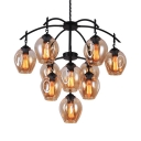 Clear Orb Chandelier Light 10 Lights Height Adjustable Antique Hanging Lamp for Dining Room