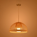 Dome Hanging Lamp Modernism Weave Single Light Art Deco Suspended Light in Wood for Corridor