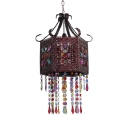 Drum Hanging Lamp Dinging Room with Colorful Crystal Single Light Antique Pendant Light Fixture in Rust