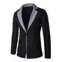 Mens Colorblock Notched Lapel Double Button Long Sleeve Slim Fitted Blazer Suit