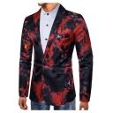 Men's Flame Printed Long Sleeve Single Button Notch Lapel Split Back Blazer Jacket