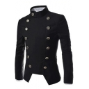 Men's Trendy Stand Collar Long Sleeve Double Breasted Slim Fit Asymmetric Suit Blazer