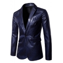 Mens Stylish Printed Notched Lapel Single Button Long Sleeve Split Back Wedding Suit Blazer for Groom