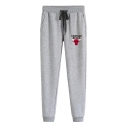 Mens Fashion CHICAGO BULLS Letter Printed Drawstring Waist Fitted Sport Cotton Sweatpants