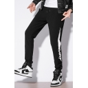 Mens New Stylish Patched Side Drawstring Waist Casual Sport Pants Sweatpants
