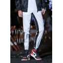 Men's Hip Hop Style Striped Tape Side Drawstring Waist Casual Unisex Track Pants