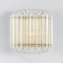 Modern Wall Light Fixture with Drum 2 Lights Clear Crystal Mini Sconce for Kitchen