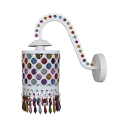 Cylinder Hallway Hanging Wall Sconce Metal Single Light Vintage Wall Lamp in White/Multi Color