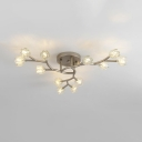 Nickel Tree Branch Chandelier 12/16 Lights Modern Clear Crystal Hanging Lamp for Living Room