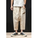Mens Unique Elastic-Waist Large Pocket Plain Cotton and Linen Loose Capri Baggy Harem Pants