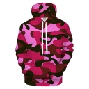 New Stylish Red Camouflage Pattern Long Sleeve Pullover Casual Drawstring Hoodie
