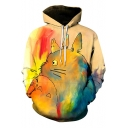 Stylish Cartoon Totoro Painting Sport Loose Pullover Khaki Hoodie