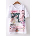 Funny Cartoon Letter Fried Eggs Figure Macaroon Printed Round Neck Short Sleeve White Loose Tee