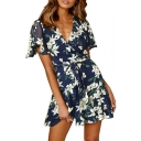 Hot Fashion Short Sleeve V-Neck Floral Print Tied Waist Mini A-Line Dress