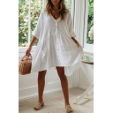 Women's Plain V-Neck Half Sleeve Button Front Pleated White Mini A-Line Dress with Pocket