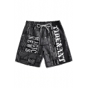 Mens Unique Letter Printed Drawstring Waist Loose Beachwear Swimming Shorts