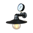 Antique Black/Rust Sconce with Saucer Shade and Pressure Gauge Single Light Metal Wall Light