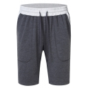 Mens Simple Drawstring-Waist Contrast Pocket Back Running Athletic Sweat Shorts