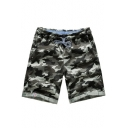 Summer Guys Fashion Camo Pattern Drawstring Waist Rolled Hem Relaxed Fit Beach Shorts