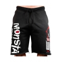 Summer New Stylish Letter Printed Drawstring Waist Cotton Loose Athletic Shorts for Men