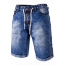 Mens Vintage Washed Drawstring Waist Button-Fly Slim Fit Denim Shorts